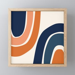 Abstract Shapes 35 in Burnt Orange and Navy Blue Framed Mini Art Print