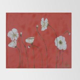 Asian White Poppies Throw Blanket