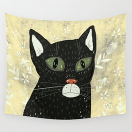 Black cat stare Wall Tapestry