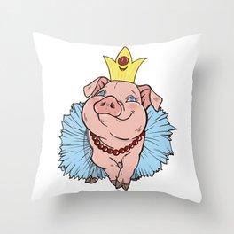 pig Princess Throw Pillow