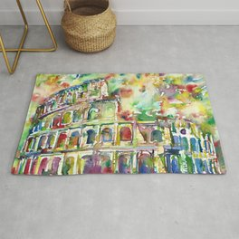 COLOSSEUM - watercolor painting Rug