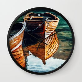 Reflections Boats on a Clear Blue Lake Wall Clock