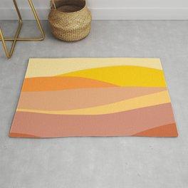 Geometric, Abstract, Sunset Art, Yellow, Pink and Orange Rug