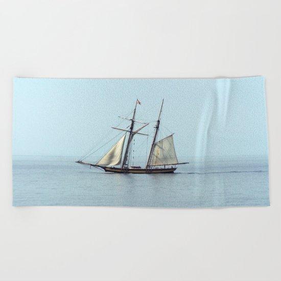 Tall ship Sails by Beach Towel