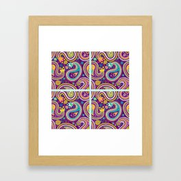Checkered background with paisley pattern Framed Art Print