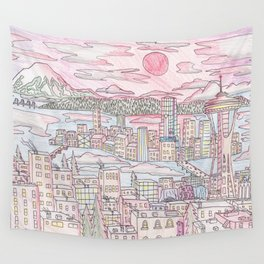 Seattle in Colored Pencil Wall Tapestry