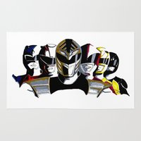 power rangers Area & Throw Rugs featuring Power Rangers by SquidInkDesigns