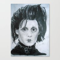 edward scissorhands Canvas Prints featuring Edward Scissorhands by Jennifer Cooper
