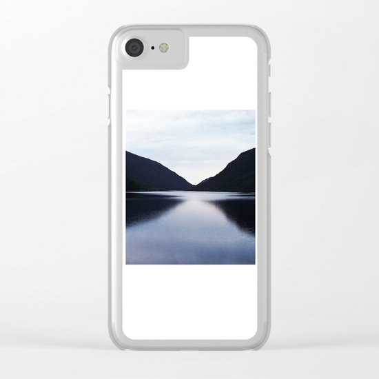 Mountain Lake Reflection Clear iPhone Case