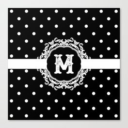 Black Monogram: Letter M Canvas Print