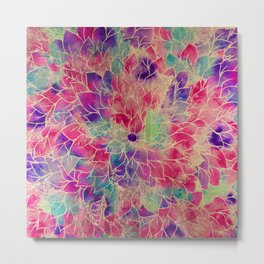 Pink gold teal watercolor hand painted floral pattern Metal Print