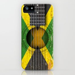 Old Vintage Acoustic Guitar with Jamaican Flag iPhone Case