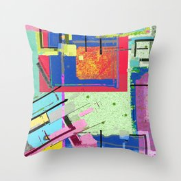 Superfly Muses No. 3 Contemporary Abstract Retro Throw Pillow