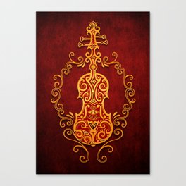 Aged Vintage Red and Yellow Tribal Violin Design Canvas Print