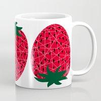 strawberry Mugs featuring Strawberry by Dpat Designs