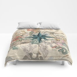 Compass Graphic with an ancient Constellation Map Comforters