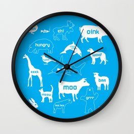 Animal Noises in Blue Wall Clock