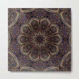 An Absract Kaleidoscope Flower of Bronze and Purple Highlights Metal Print