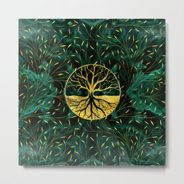 Golden Tree of Life on Malachite Metal Print