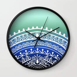 Ombre Blue Henna Wall Clock