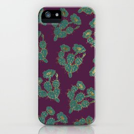Modern forest green burgundy red gold cactus floral iPhone Case