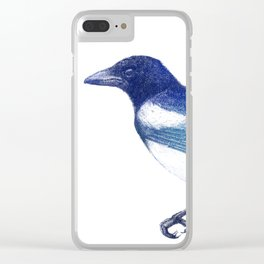 Magpie (Pica pica) - blue and turquoise Clear iPhone Case