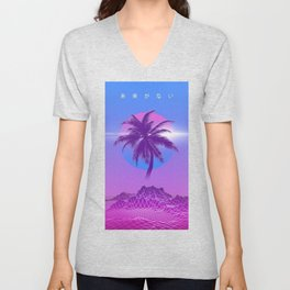 Vaporwave Palm Tree Unisex V-Neck