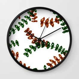Red and green leaf pattern Wall Clock