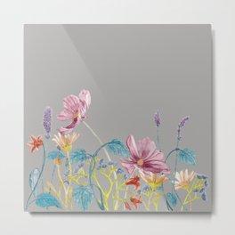 Floral Border - Mute Colours Metal Print