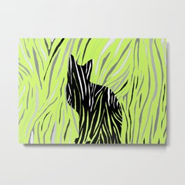 Black House Cat on Grass Metal Print
