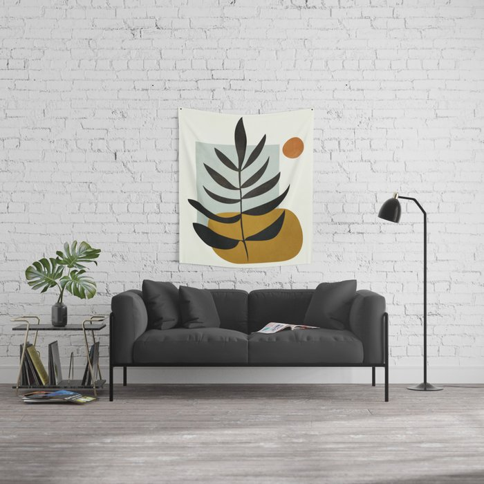 Soft Abstract Large Leaf Wall Tapestry