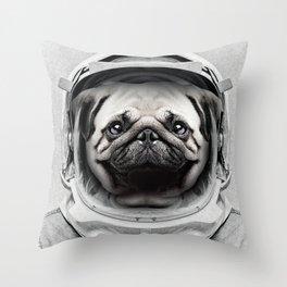Puggly Pawstrong Astro Dog Throw Pillow