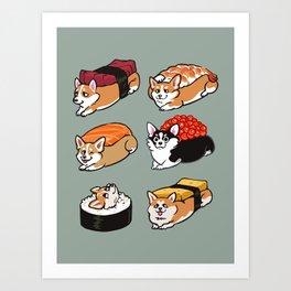 Sushi  Corgi Art Print