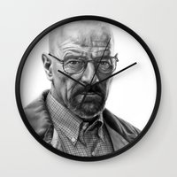 walter white Wall Clocks featuring Walter White by robo3687