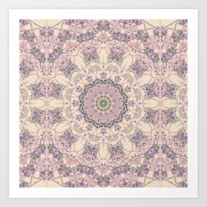47 Wisteria Circle - Vintage Cream and Lavender Purple Mandala Art Print