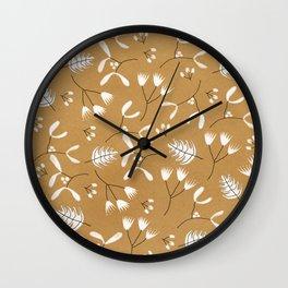 Winter Leaves Wall Clock