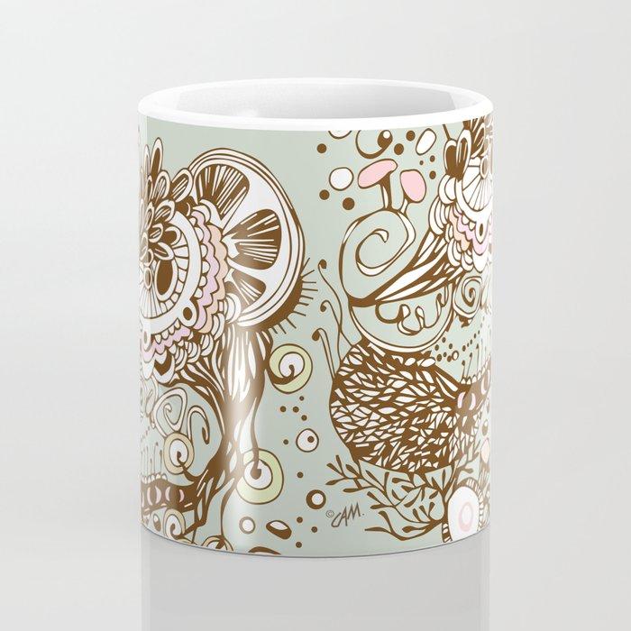 Zentangle green flower roots doodle Coffee Mug
