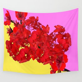 MODERN LILAC-YELLOW RED FLOWERS ART Wall Tapestry