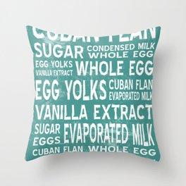 Cuban Flan Word Food Art Poster (Teal) Throw Pillow