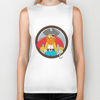 captain hook Biker Tanks featuring Captain Hook Pirate Circle Cartoon by patrimonio