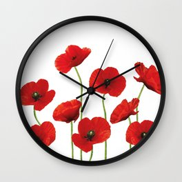 Poppies Field white background Wall Clock