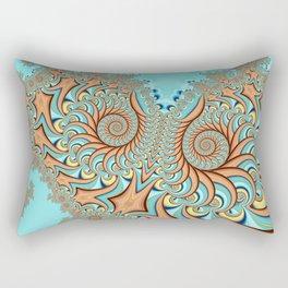 Owl Fractal Turquoise and Orange Rectangular Pillow