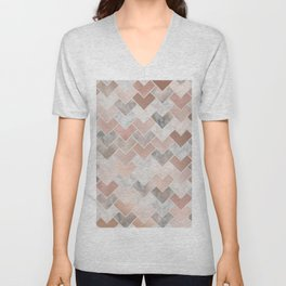 Rose Gold and Marble Geometric Tiles Unisex V-Neck