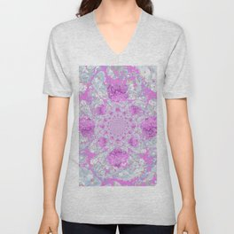 DELICATE LILAC & WHITE PHLOX FLOWERS  ABSTRACT PATTERNS Unisex V-Neck