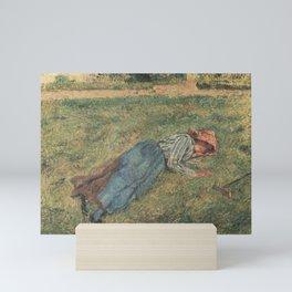 Camille Pissarro - The Nap, Peasant Woman Lying in the Grass, Pontoise Mini Art Print