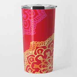 Happy bright lace flower - red Travel Mug