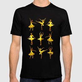 Watercolor Ballerinas (Black and Yellow) T-shirt