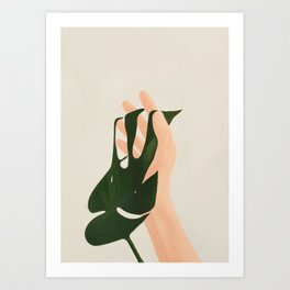 Monstera in Fingers Art Print