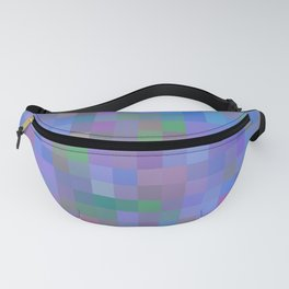 geometric square pixel pattern abstract in purple blue pink Fanny Pack
