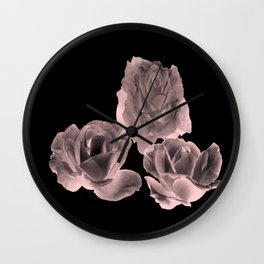Trio of Blush Roses Wall Clock